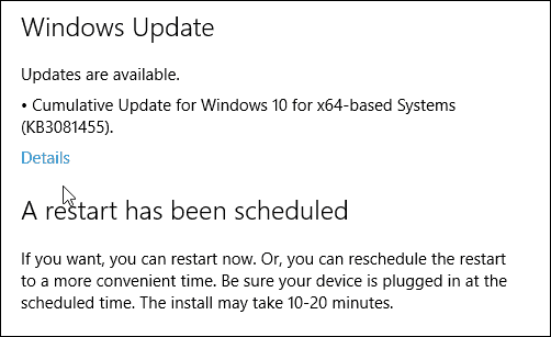 Cumulative Update KB3081455
