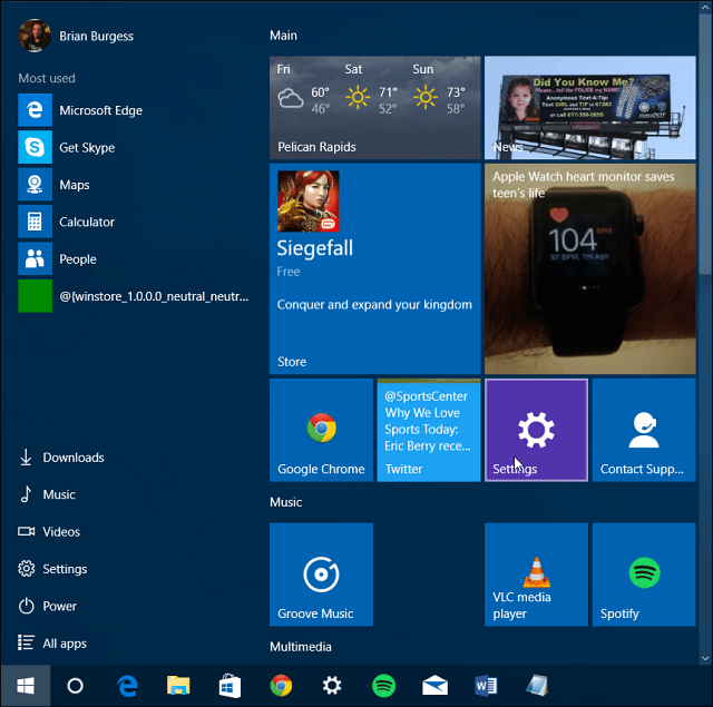 start menu update