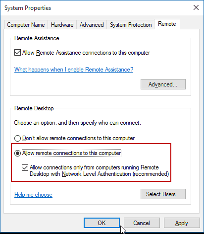 Windows  Home Remote Desktop Settings