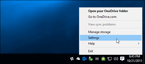 OneDrive Settings Windows 10