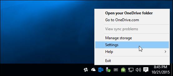 OneDrive Settings Windows 10