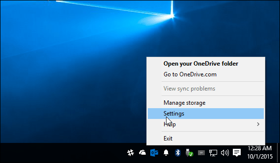 OneDrive Windows 10 System Tray