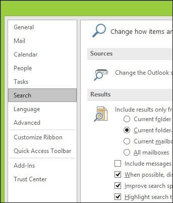 How to Rebuild the Outlook 2016 Search Index