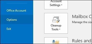 how to add search options in outlook 2016