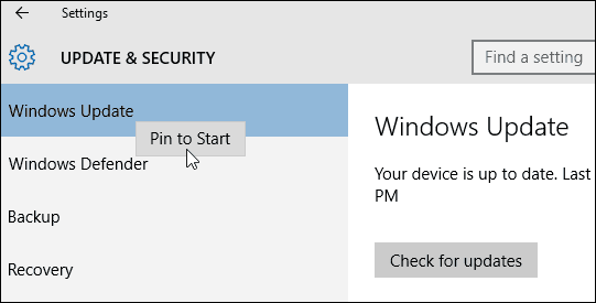 Pin Windows Update