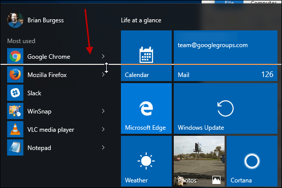 Resize Windows 10 Start menu