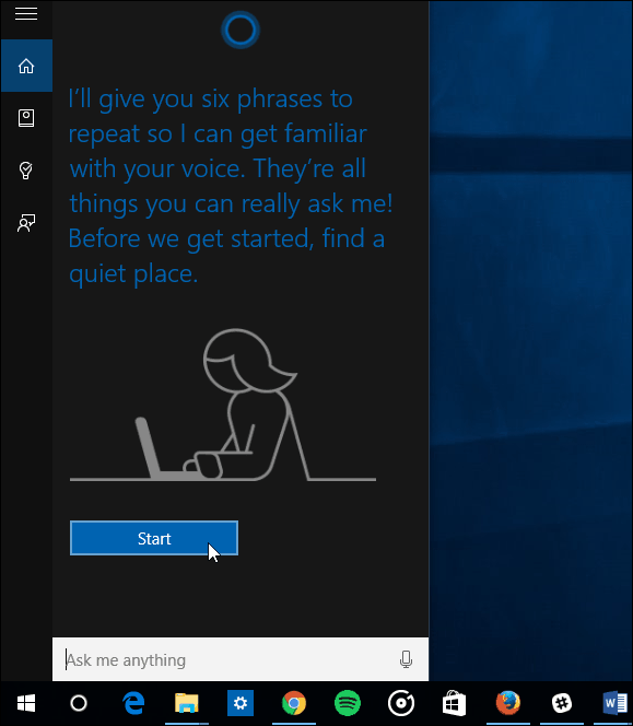 Start Lean my Voice Cortana Wizard