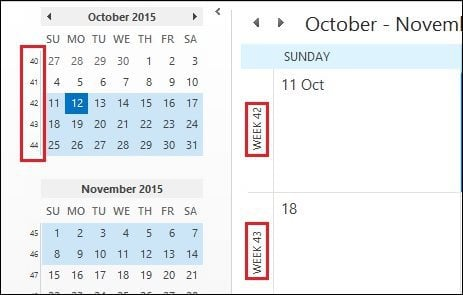 How to Add Week Numbers to Outlook 2016 Calendar