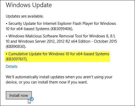 Windows 10 Update KB3097617