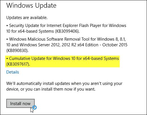 Windows 10 Update KB3097617