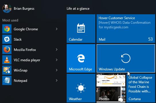 Windows Update Start Windows 10
