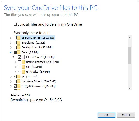 choose Files to Sync