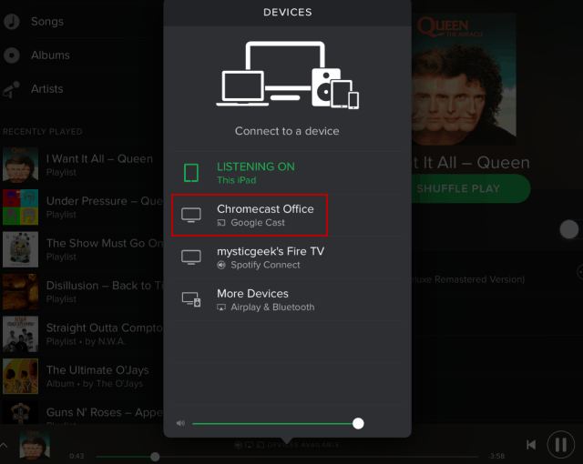 iPad Choose Chromecast