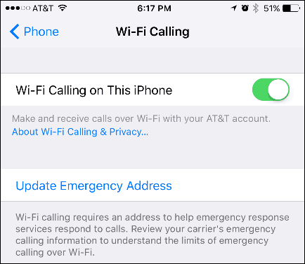 Enable Wi-Fi Calling on an iPhone