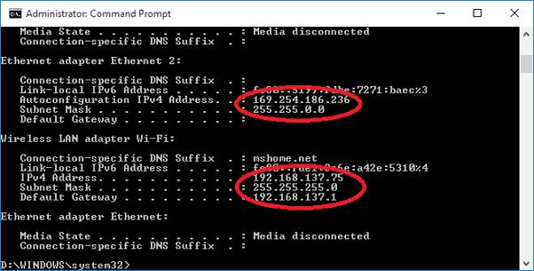 ipconfig to find IP Address