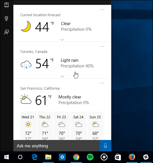 multiple cities Cortana Weather