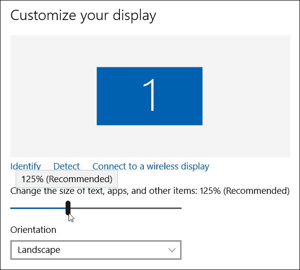 set display size slider