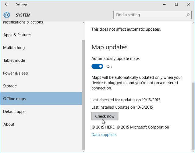 Windows 10 Map updates