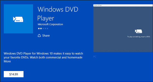 Windows DVD Player app
