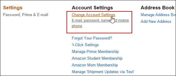 2 Change Account Settings