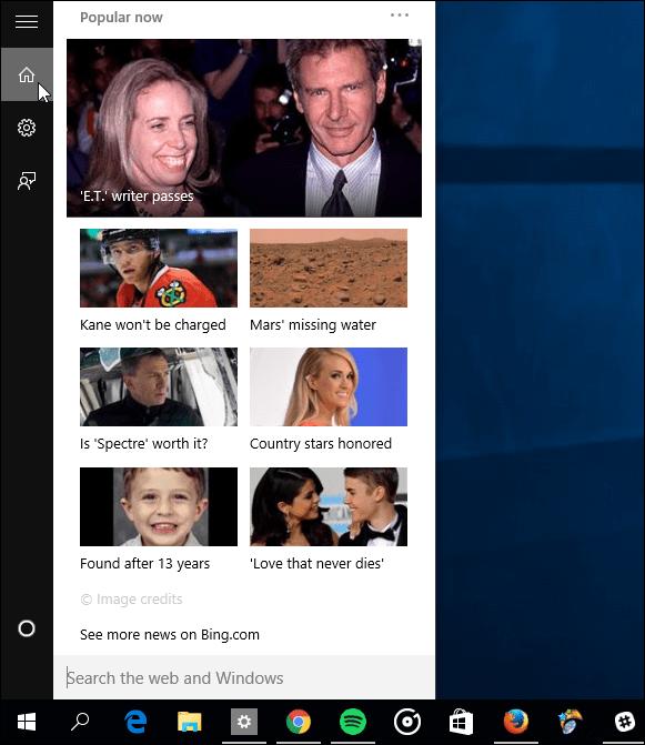 Cortana no Cards enabled