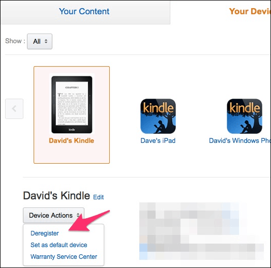 Deregister Kindle