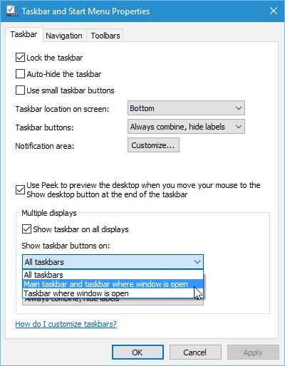 Main taskbar