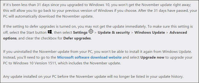 Microsoft Win10 November Update notes