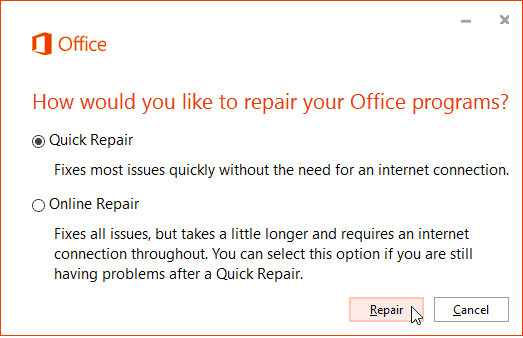 Office 365 Online Repair