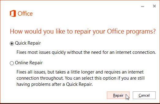 Office 365 Online Repair