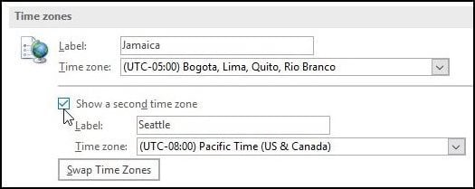 How to Add an Extra Time Zone to Outlook 2016 Calendar