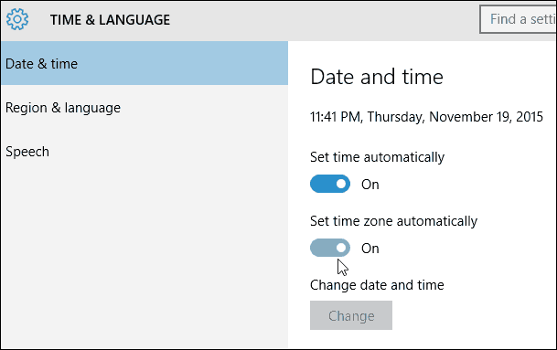Set time zone automatically Windows 10