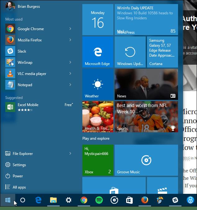 Windows 10 Start three columns