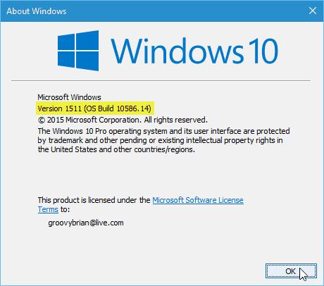 Windows 10 update version
