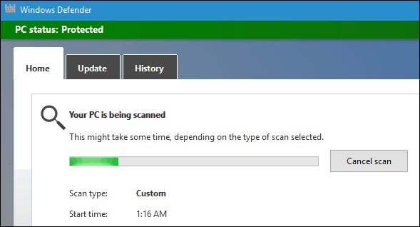 Windows Defender Scanning