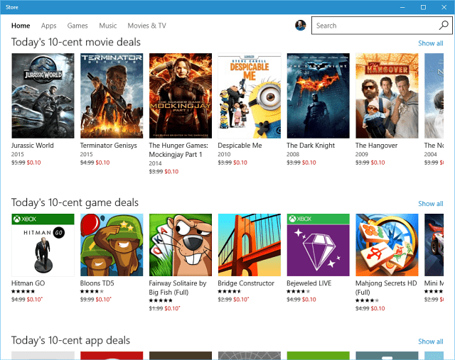 Windows Store 10 cent Deals