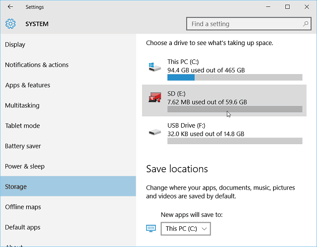 Settings Storage Windows 10