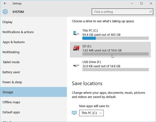 Settings Storage Windows 10