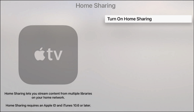 3 turn on Home Sharing