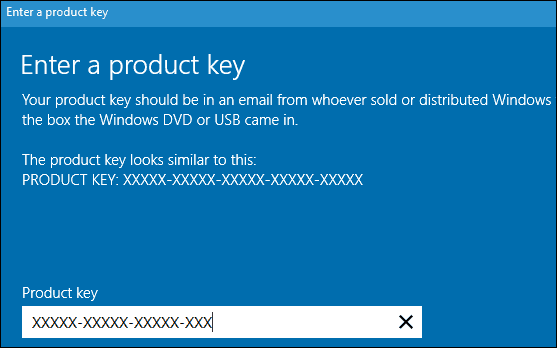windows 10 installation key