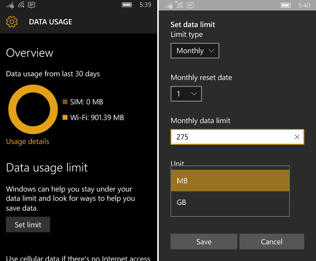 Data Useage Windows 10 Mobile