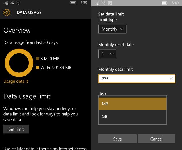 Data Useage Windows 10 Mobile