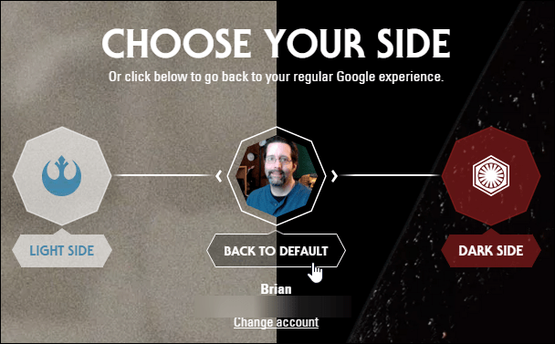 Google Star Wars Theme Default