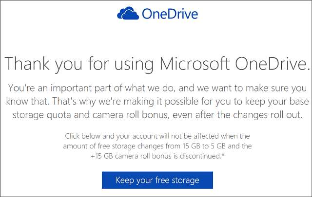 Keep OneDrive 15 GB Storage