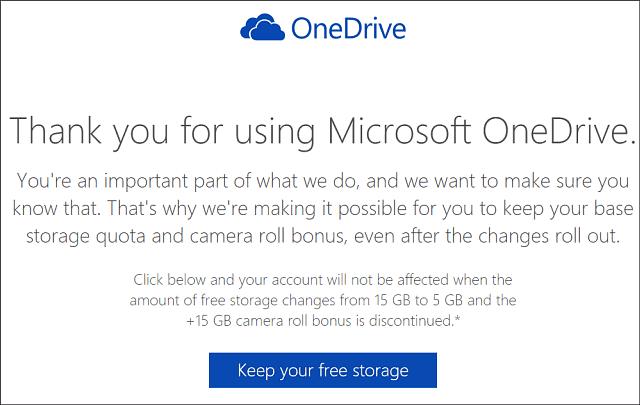 Keep OneDrive 15 GB Storage