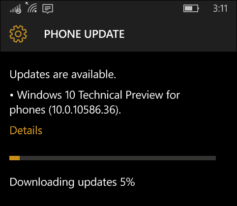 Windows 10 Mobil Update 10586-36