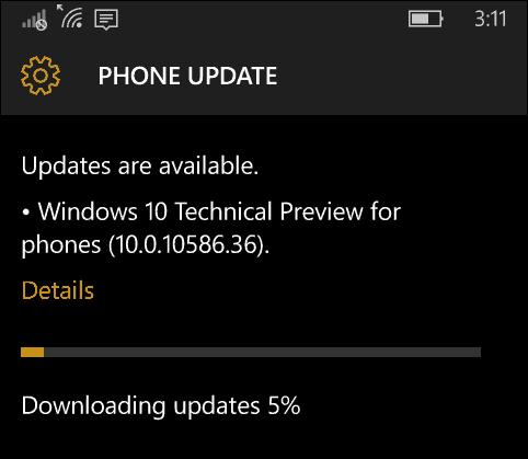 Windows 10 Mobil Update 10586-36