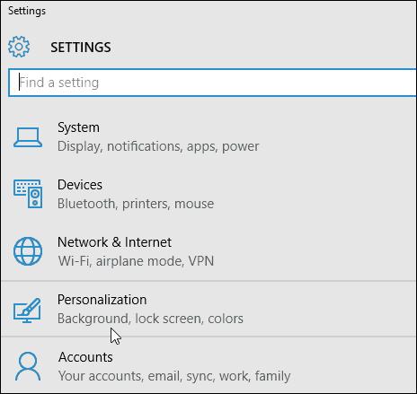 Windows 10 Personalizaton