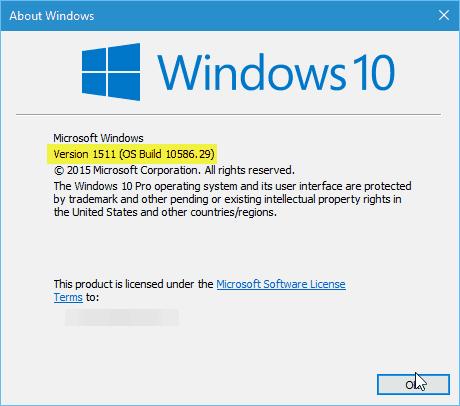 Windows 10 Version 10586.29