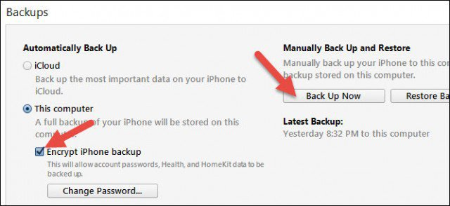 itunes encrypted ios backup